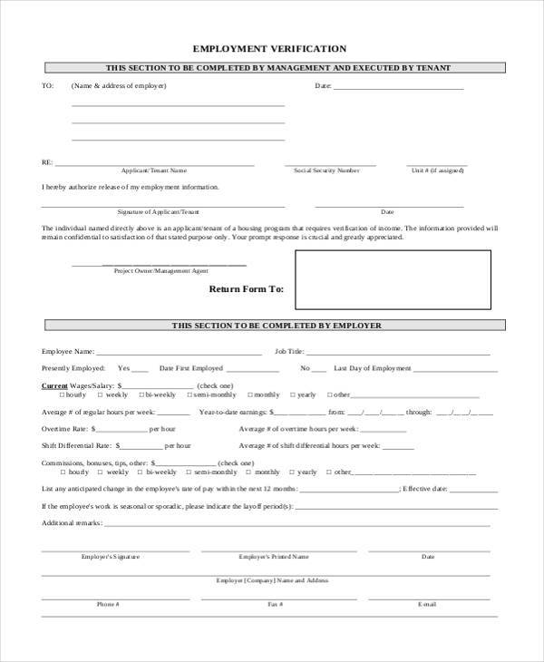 Free Employment Verification Form Sample  Pre Grant Proposal