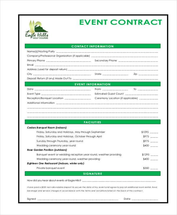 event contract sample