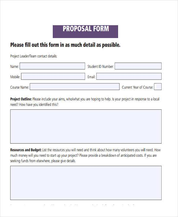 Blank Proposal Forms - free proposal forms
