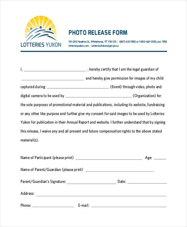 Release Forms in PDF - generic photo release form