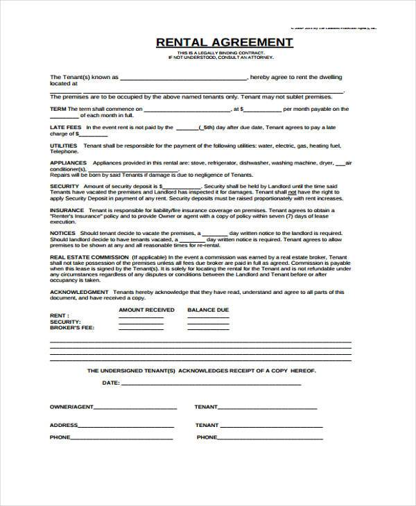 7+ Generic Rental Agreement Form Samples - Free Sample, Example - free lease agreement template