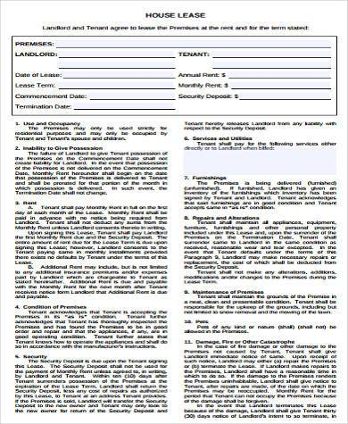 Free House Rental Lease Agreements Choice Image - Agreement Letter - house rental contract