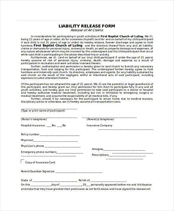 Sample Release Forms in Doc - liability release template