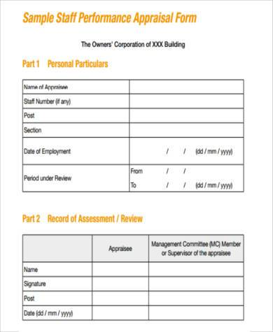 Sample Management Appraisal Forms - 7+ Free Documents in PDF - free appraisal forms