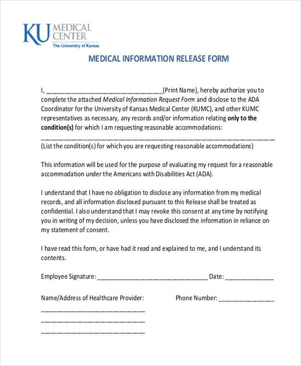 Release Of Medical Information Form  NodeCvresumePaasproviderCom