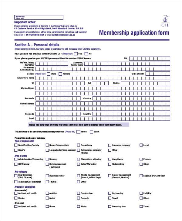 7+ Membership Application Form Samples - Free Sample, Example