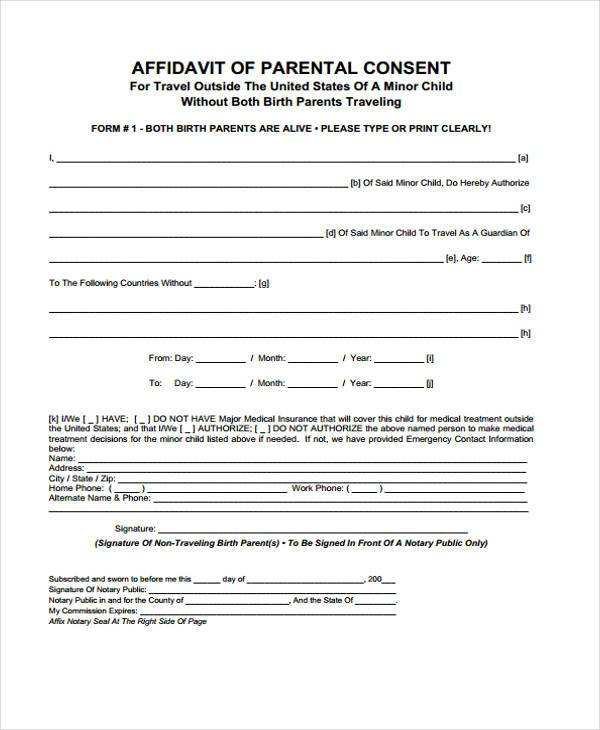 Free Consent Form Samples - free child travel consent form template