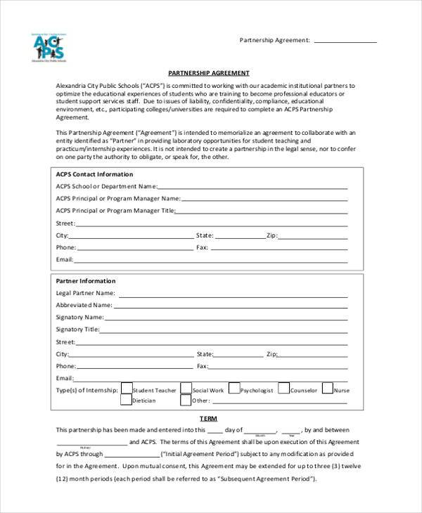 11+ Partnership Agreement Form Samples - Free Sample, Example Format - Free Partnership Agreement Form