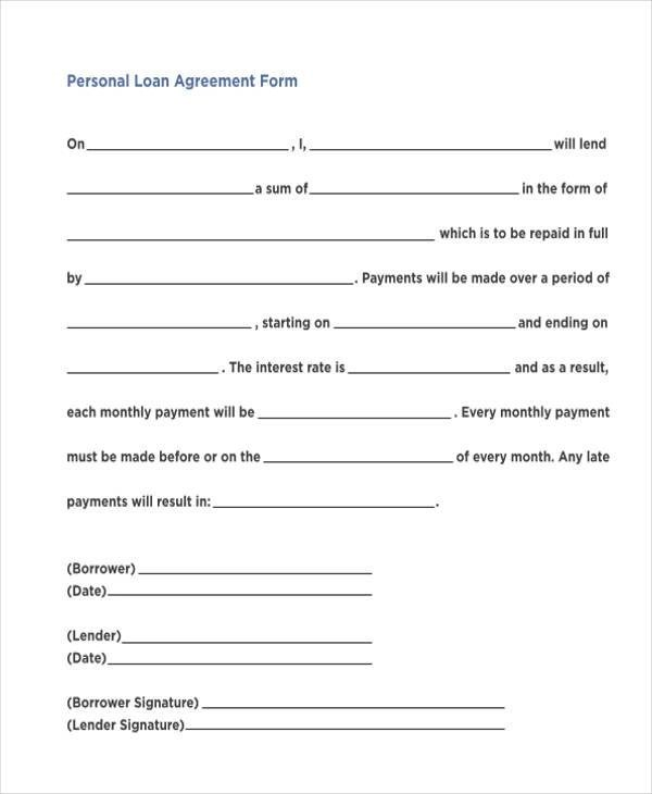 7+ Personal Loan Agreement Form Samples - Free Sample, Example - loan contract sample