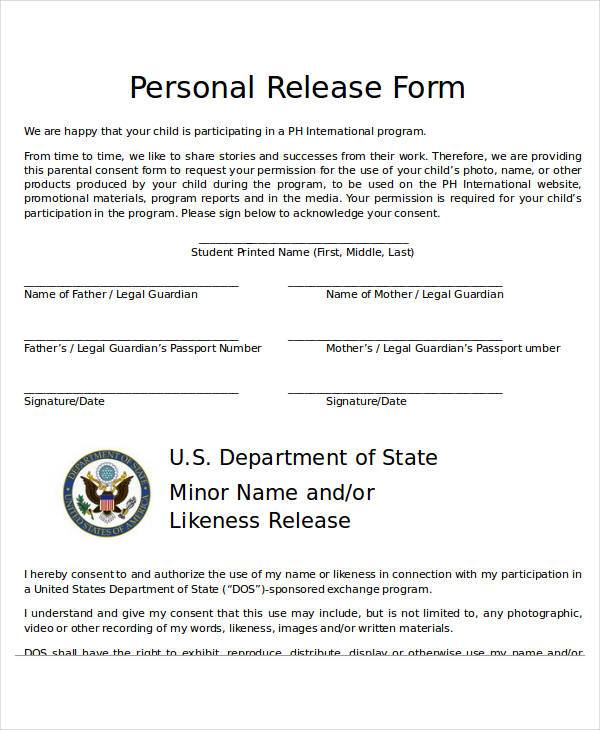 personal release form - Deanroutechoice