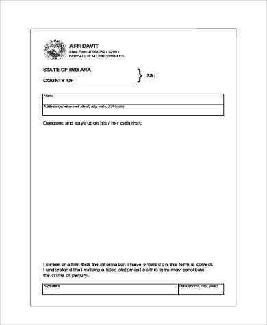 Blank Affidavit Form Samples - 19+ Free Documents in Word, PDF - printable affidavit form