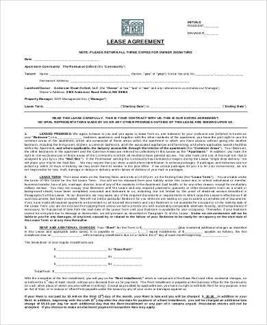 printable sample residential lease agreement template form free - free blank lease agreement forms