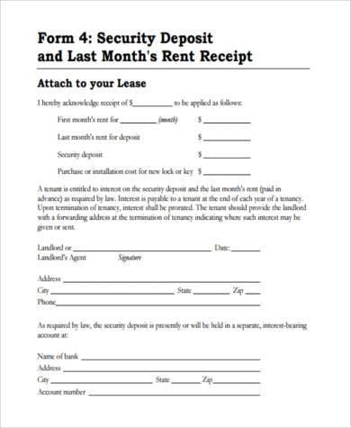 Sample Rental Deposit Forms - 9+ Free Documents in PDF
