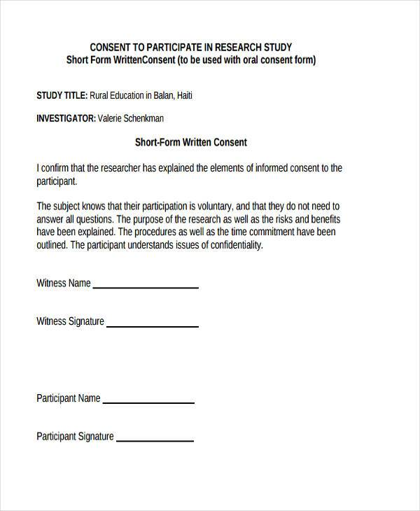 7+ Research Consent Form Samples - Free Sample, Example Format - research consent form template