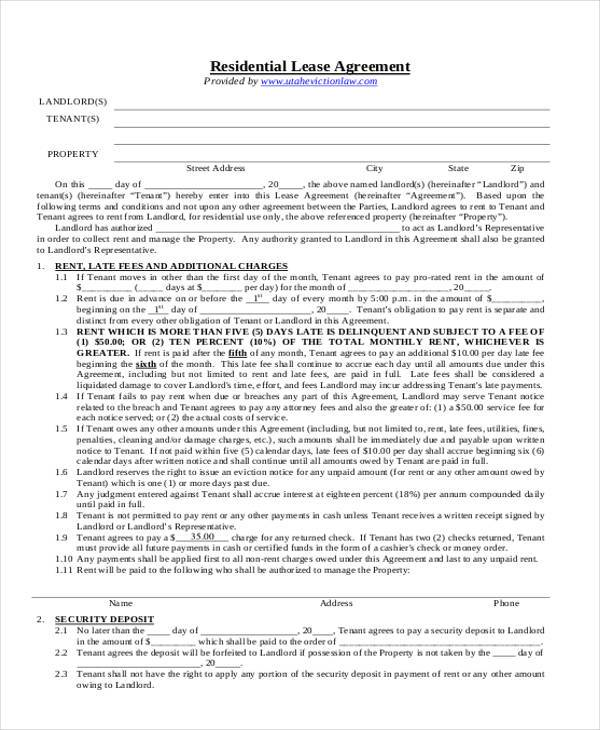 8+ Residential Lease Agreement Form Samples - Free Sample, Example - free sample lease agreement