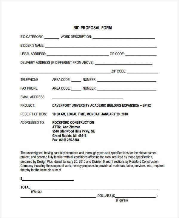Sample Proposal Forms - bid proposal forms