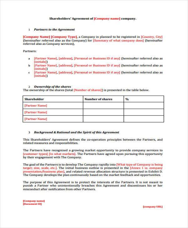 8+ Shareholder Agreement Form Samples - Free Sample, Example - shareholder agreement
