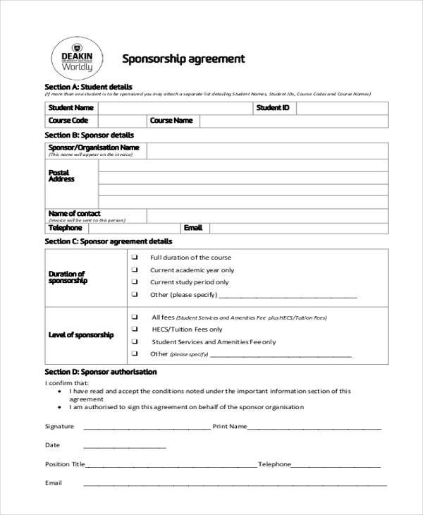 7+ Sponsorship Agreement Form Samples - Free Sample, Example Format