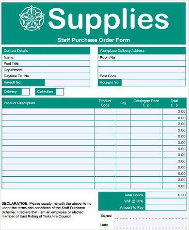 Sample Staff Purchase Forms - 7+ Free Documents in Word, PDF - purchase order form free
