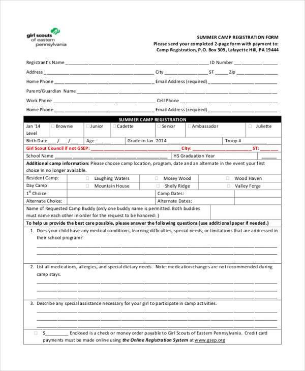 10+ Summer Camp Registration Form Samples - Free Sample, Example - registration template