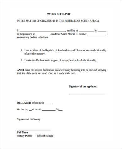 7+ Sworn Affidavit Form Samples - Free Sample, Example Format Download - example of a sworn affidavit