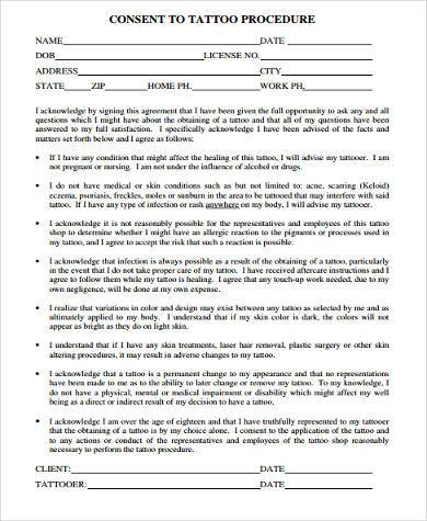 Tattoo Consent Form Samples - 8+ Free Documents in Word, PDF