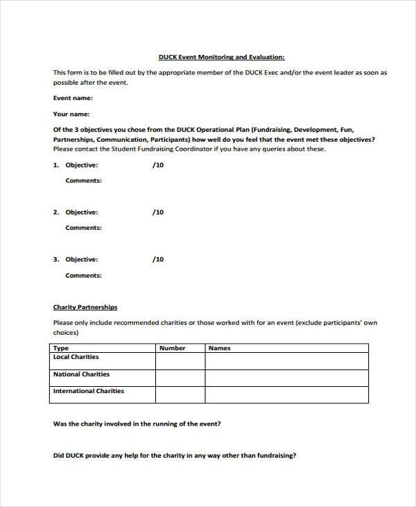 8+ Event Evaluation Form Samples - Free Sample, Example Format Download - Charity Evaluation