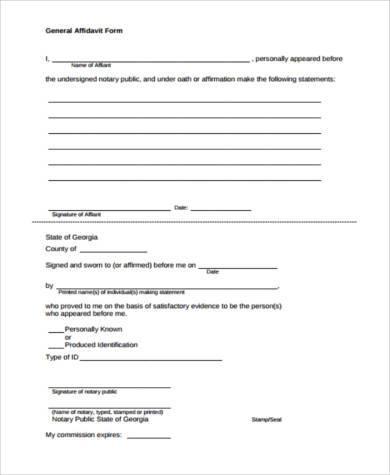 General Affidavit Form Samples - 9+ Free Documents in Word, PDF