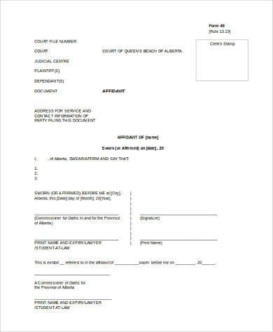Sample Affidavit Forms in Doc - 20+ Free Documents in Word - general affidavit example