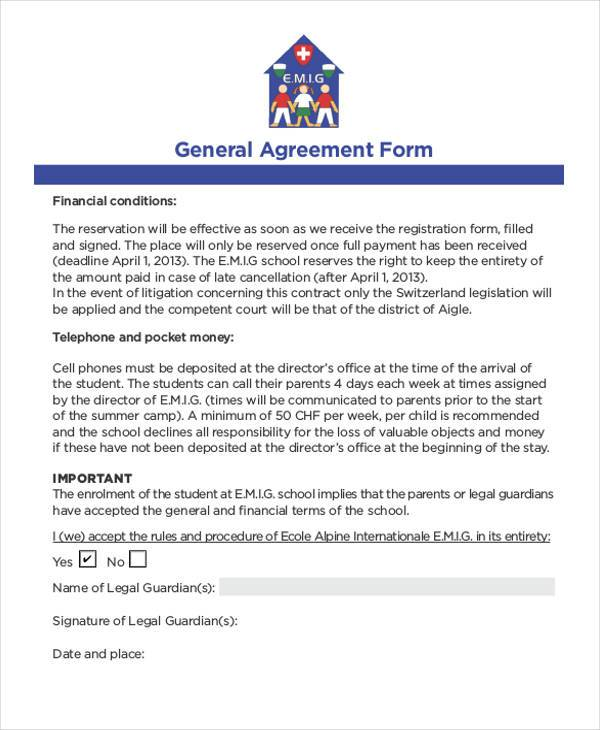 8+ General Agreement Sample Forms - Free Sample, Example Format Download - agreement form format