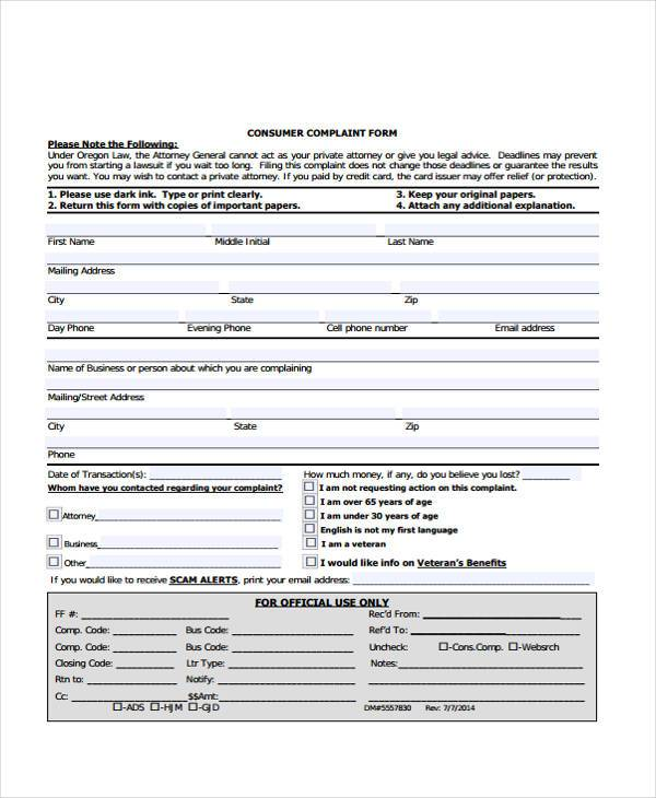 Sample General Complaint Forms - 7+ Free Documents in Word, PDF - consumer form
