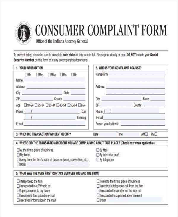 7+ General Complaint Form Samples - Free Sample, Example Format Download - consumer form