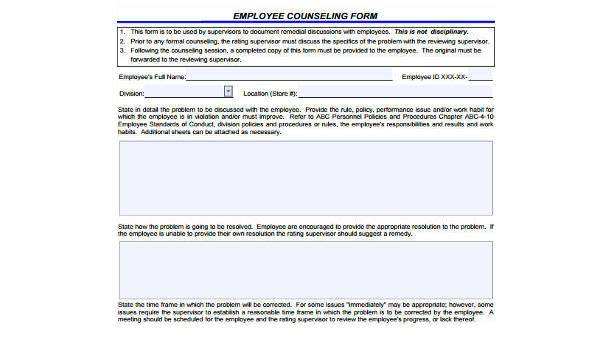 General Counseling Form Samples - 8+ Free Documents in Word, PDF