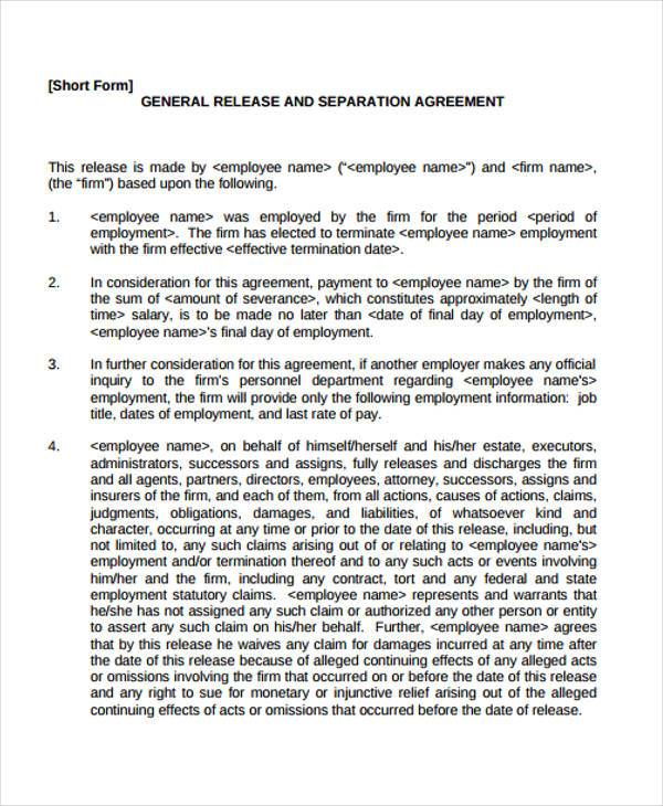 Letter Of Separation From Spouse Docoments OjazlinkSeverance - employment separation agreement