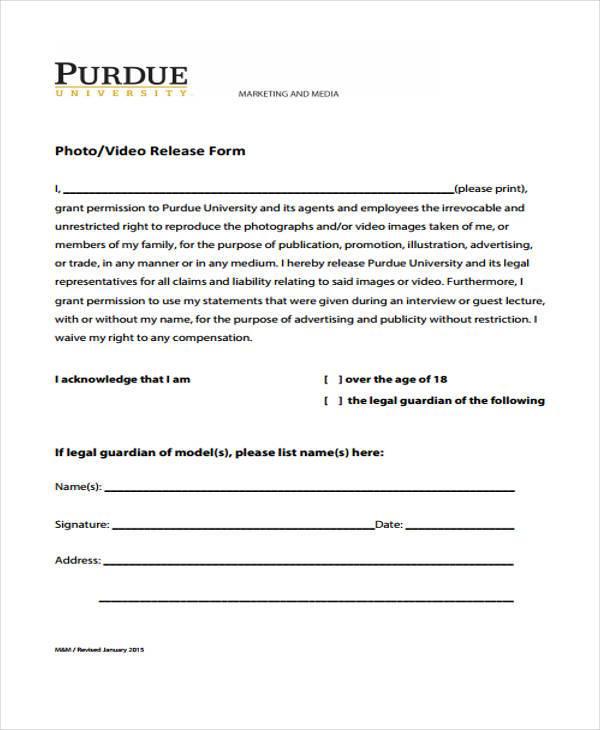 Sample Video Release Form Sample Video Release Form Free Documents - video release form