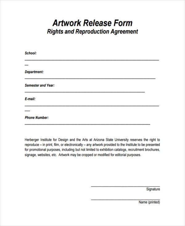 9+ Artwork Release Form Samples - Free Sample, Example Format Download - generic photo release form