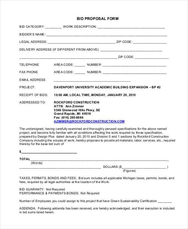 7+ Generic Proposal Form Samples - Free Sample, Example Format - bid format