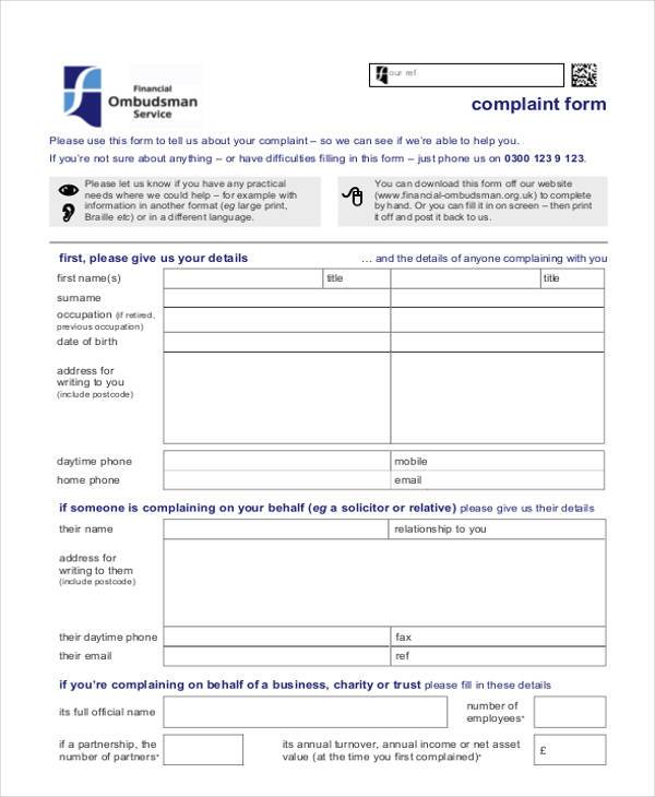 8+ Generic Complaint Form Samples - Free Sample, Example Format Download