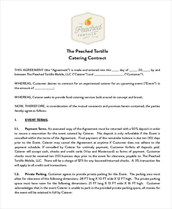 7+ Catering Contract Form Samples - Free Sample, Example Format Download