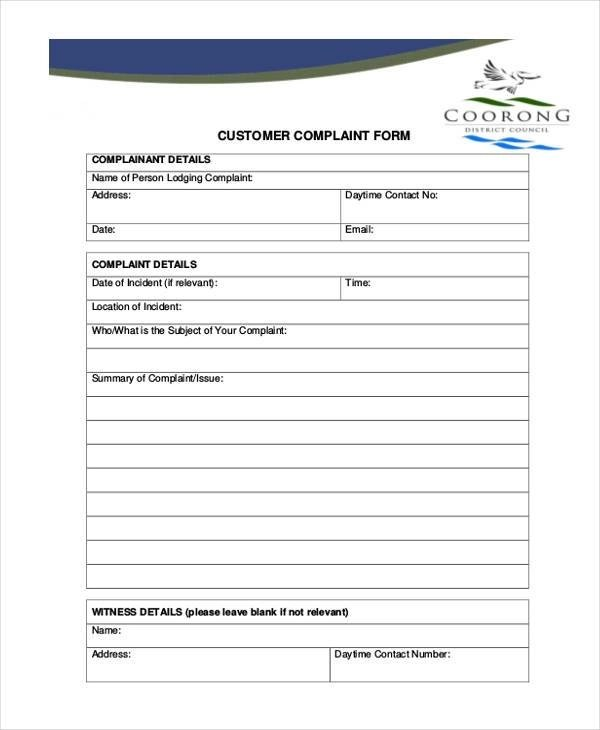 Customer Complaint Form Template amp Sample Form biztreecom