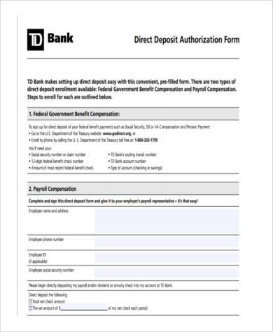 Sample Direct Deposit Authorization Forms - 9+ Free Documents in - direct deposit authorization form example