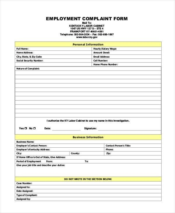Sample Generic Complaint Forms - 7+ Free Documents in PDF