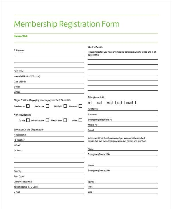 Sample Membership Registration Forms - 7+ Free Documents in Word, PDF - registration forms