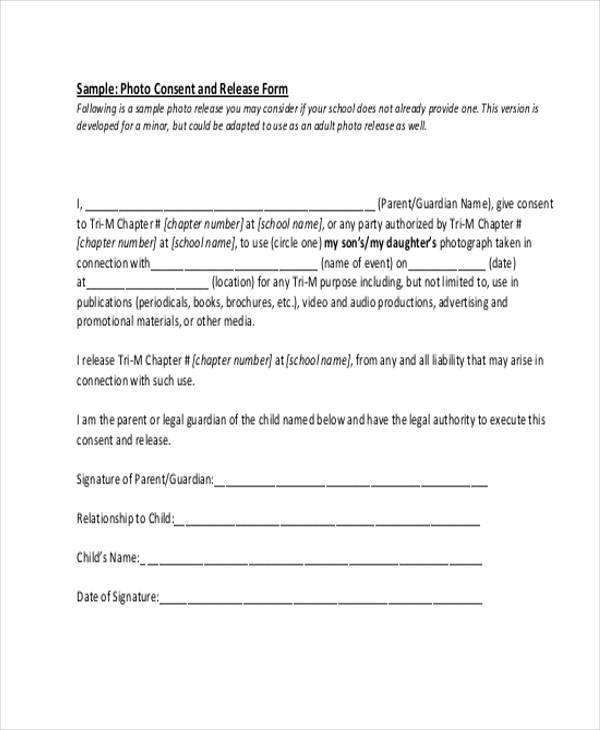 Generic Release Forms - generic photo release form
