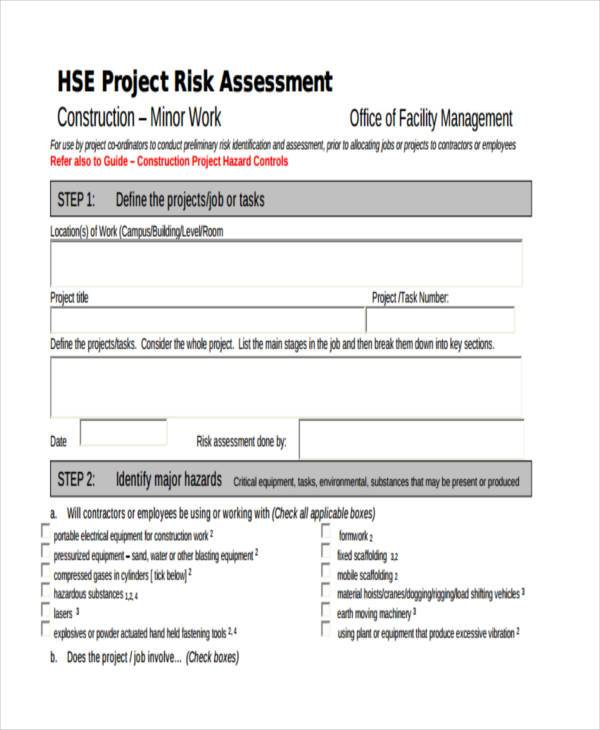 Free Risk Assessment Template Enwurfcsatco   Construction Risk Assessment  Template