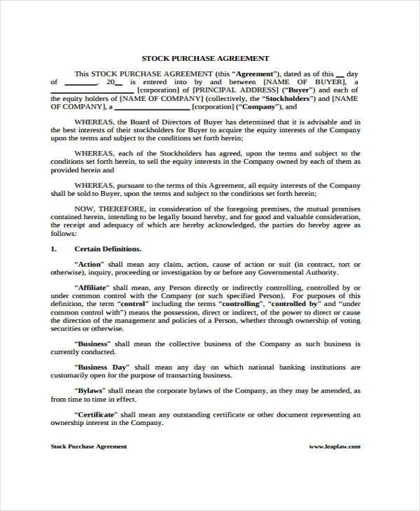 8+ Generic Purchase Agreement Form - Free Sample, Example Format - stock purchase agreement