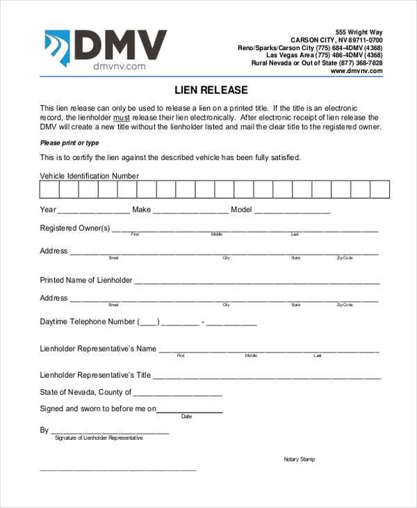 Generic Release Forms - lien release form