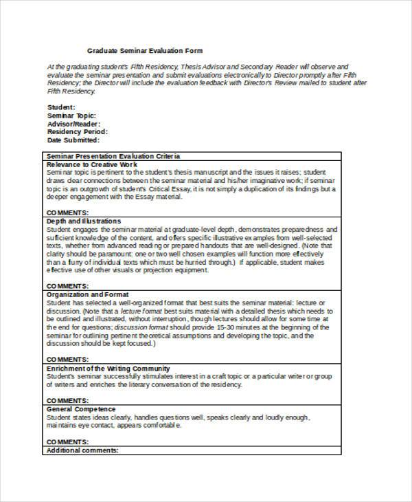 Evaluation Forms in Word - seminar evaluation form
