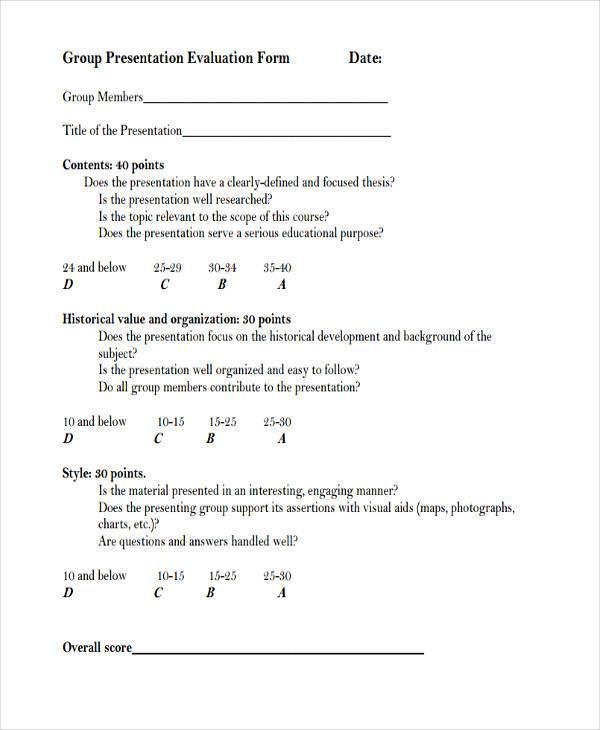 9+ Group Evaluation Form Samples - Free Sample, Example Format - sample presentation evaluation form example