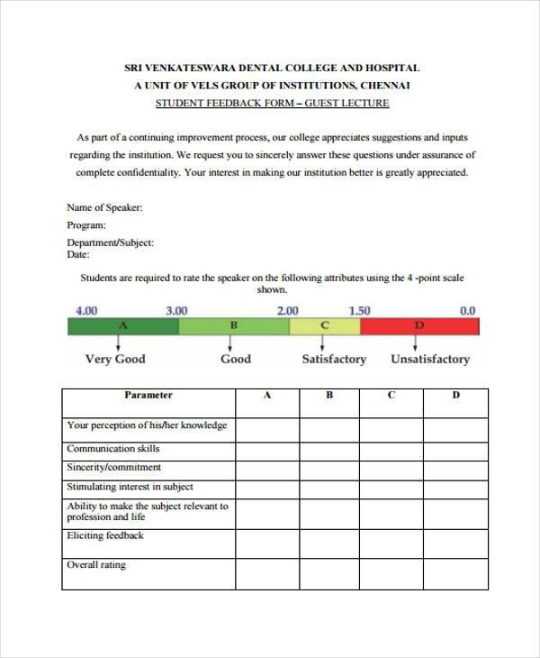 Sample Guest Feedback Forms - 7+ Free Documents in Word, PDF - speaker feedback form